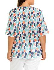 Yarra Trail Woman - Short Sleeve Pintuck Print Blouse