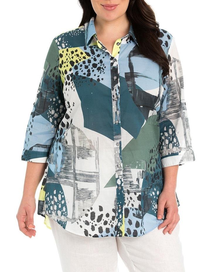 Tab Sleeve Collage Print Shirt image 1