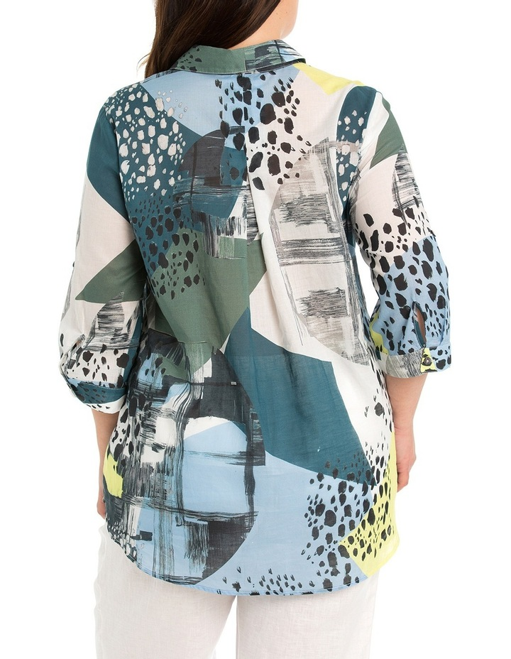 Tab Sleeve Collage Print Shirt image 2