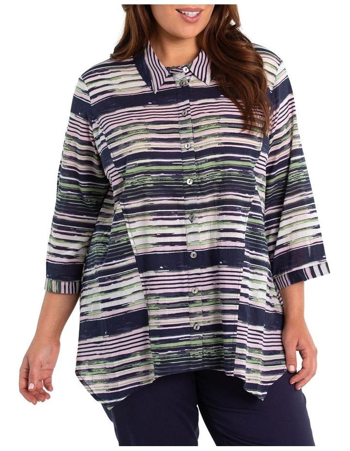 3/4 Sleeve Painted Stripe Shirt image 1