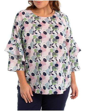 22c0a464fc3fd5 Yarra Trail Woman 3/4 Frill Sleeve Blouse