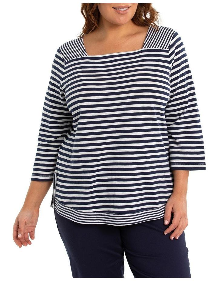3/4 Sleeve Striped Tee image 1