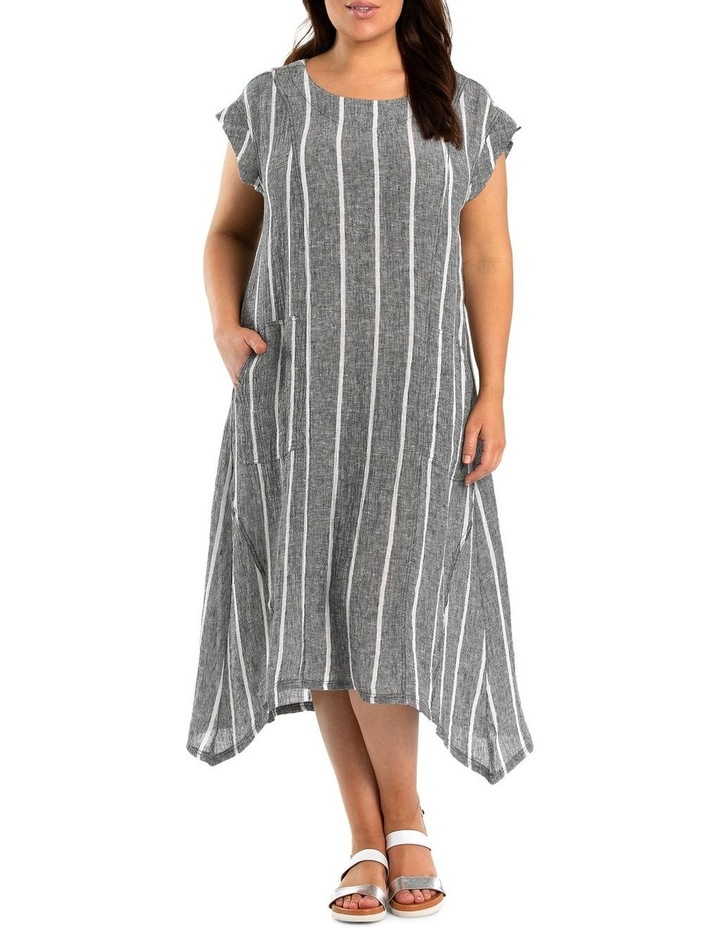 Short Sleeve Stripe Linen Dress image 1