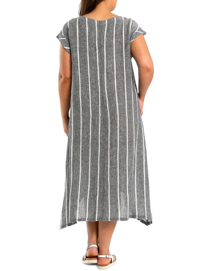 Short Sleeve Stripe Linen Dress image 2