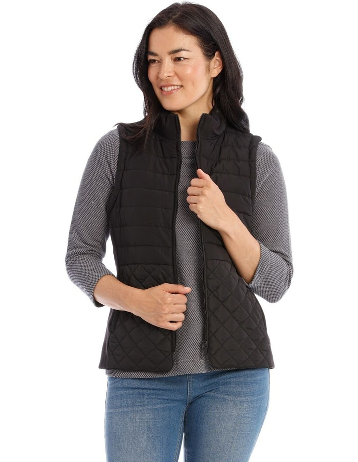 Quilted Rib Side Vest With Hood image 1