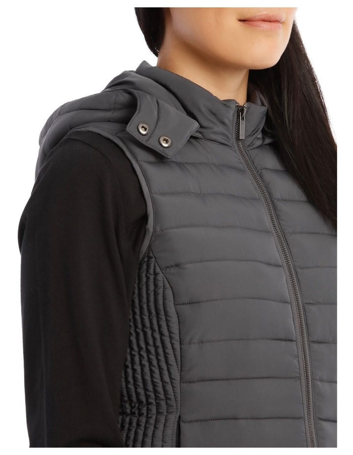 Kindled Straight Quilted Vest With Removable Hood image 4