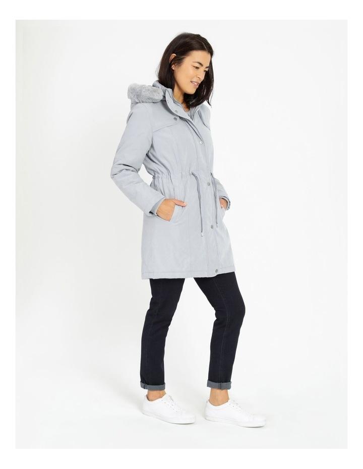 Ochre Dawn Long Line Soft Fur Trim Jacket image 2