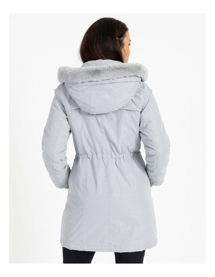 Ochre Dawn Long Line Soft Fur Trim Jacket image 3