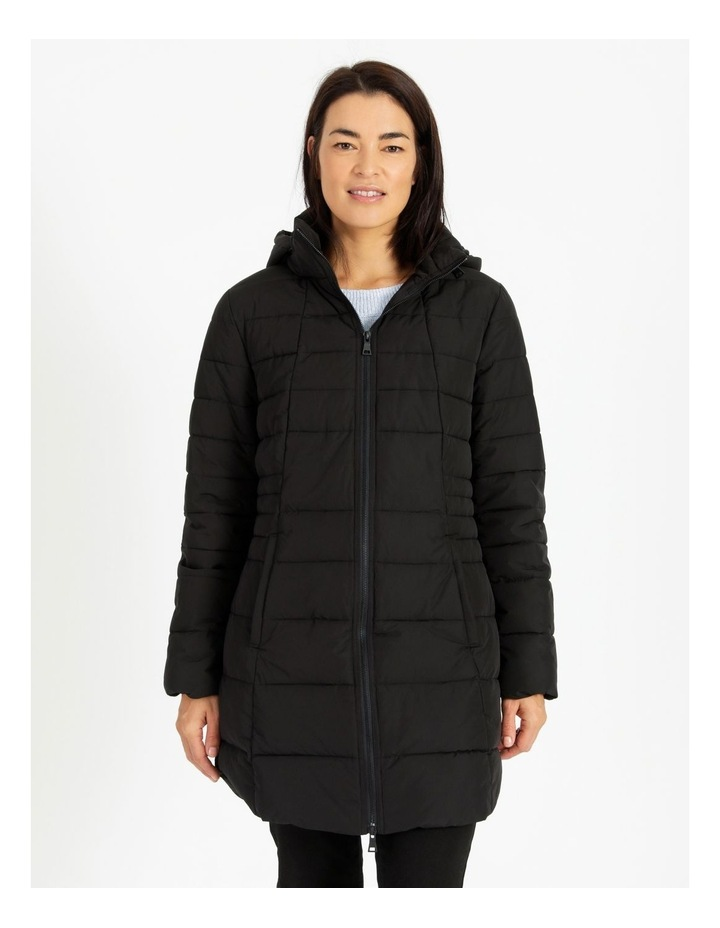 Long Line Straight Quilted Jacket With Fold Away Hood image 4