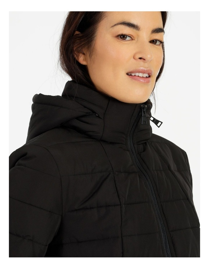Long Line Straight Quilted Jacket With Fold Away Hood image 5