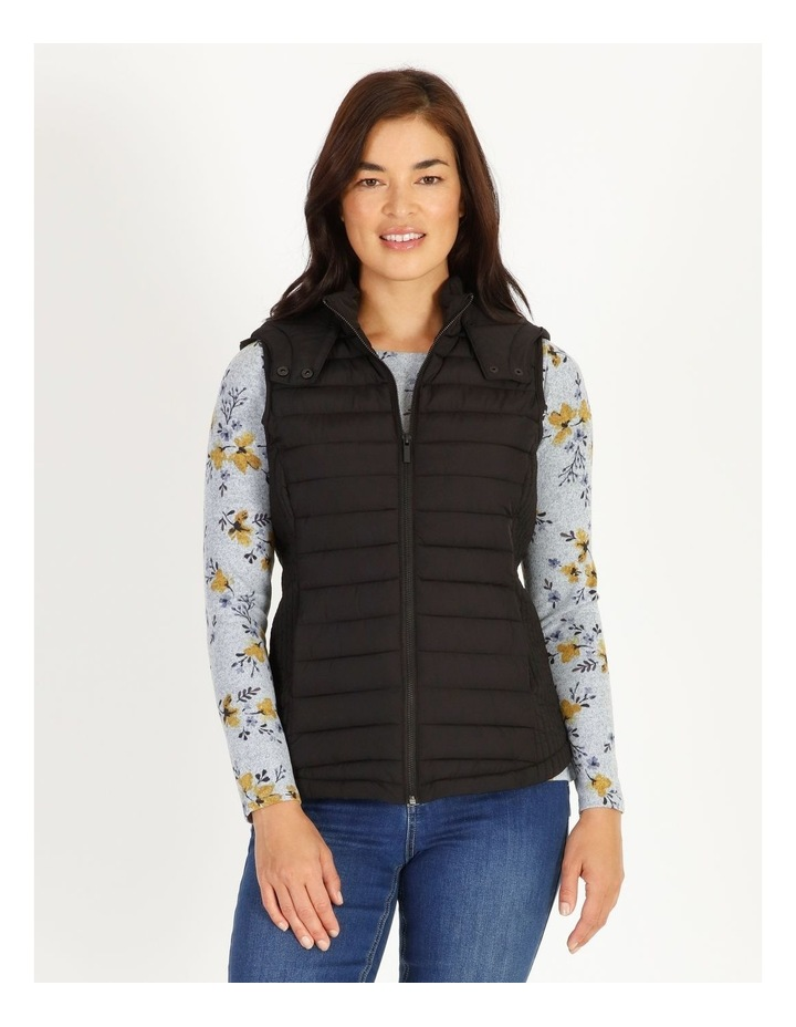 Straight Quilted Vest With Removable Hood image 1