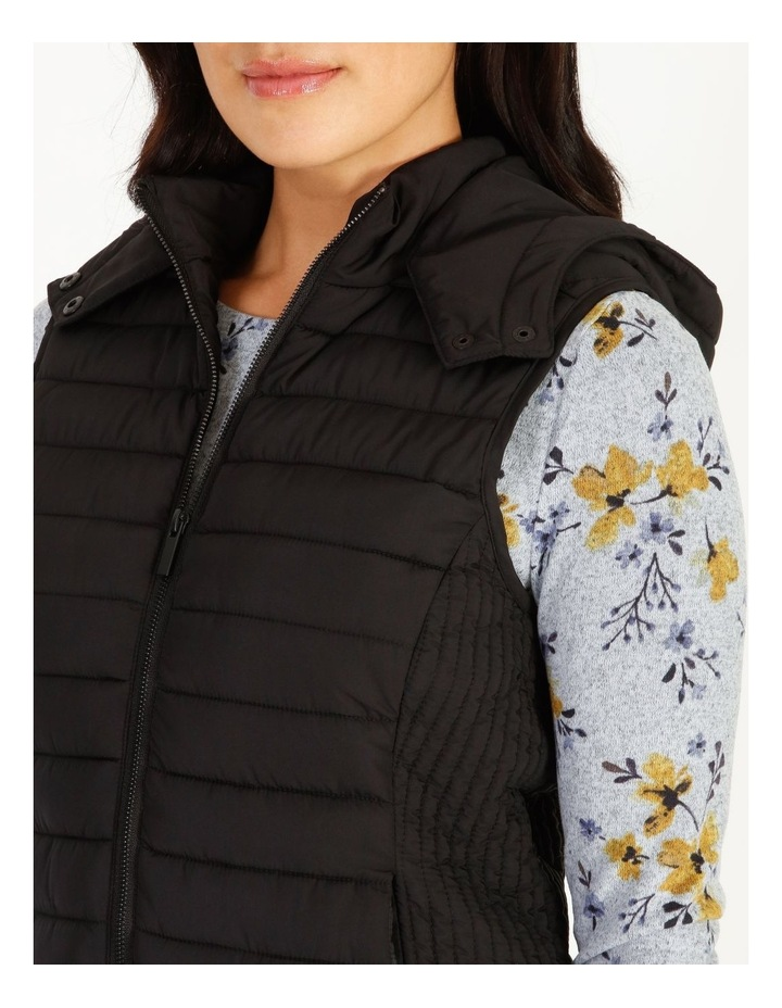 Straight Quilted Vest With Removable Hood image 4