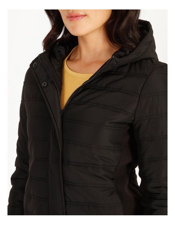 Burnished Rib Side & Sleeve Quilted Jacket With Hood image 4