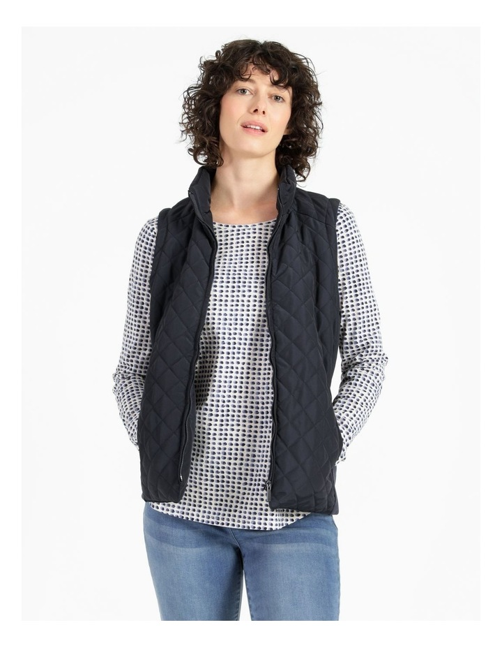 Diamond Quilted Vest With Rib Sides image 1