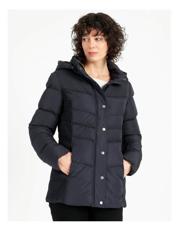 Puffer Jacket With Shirred Panels & Fold Out Hood image 4