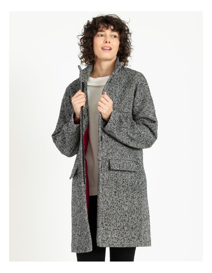 Funnel Neck With Button Raglan Sleeve Coat image 1