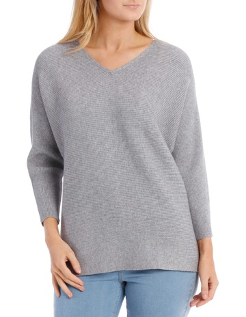 a5b7dddadd16 Regatta PetitesRib 3 4 Maygar Sleeve Jumper With V Neck-Blue Grey Marle.  Regatta Petites Rib 3 4 Maygar Sleeve Jumper With V Neck-Blue Grey Marle