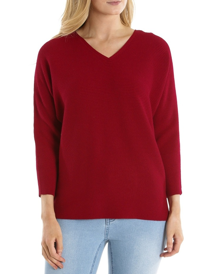 Rib 3/4 Magyar Sleeve Jumper With Boat Neck-Red Marle image 1