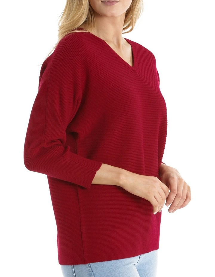 Rib 3/4 Magyar Sleeve Jumper With Boat Neck-Red Marle image 2