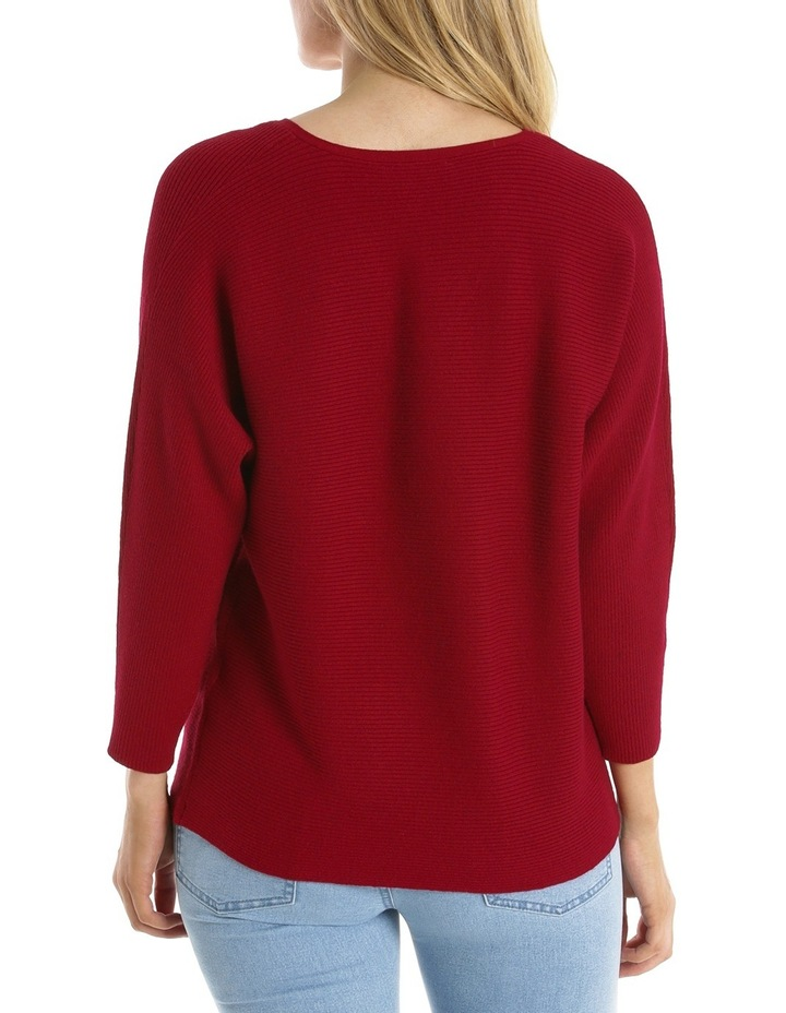 Rib 3/4 Magyar Sleeve Jumper With Boat Neck-Red Marle image 3