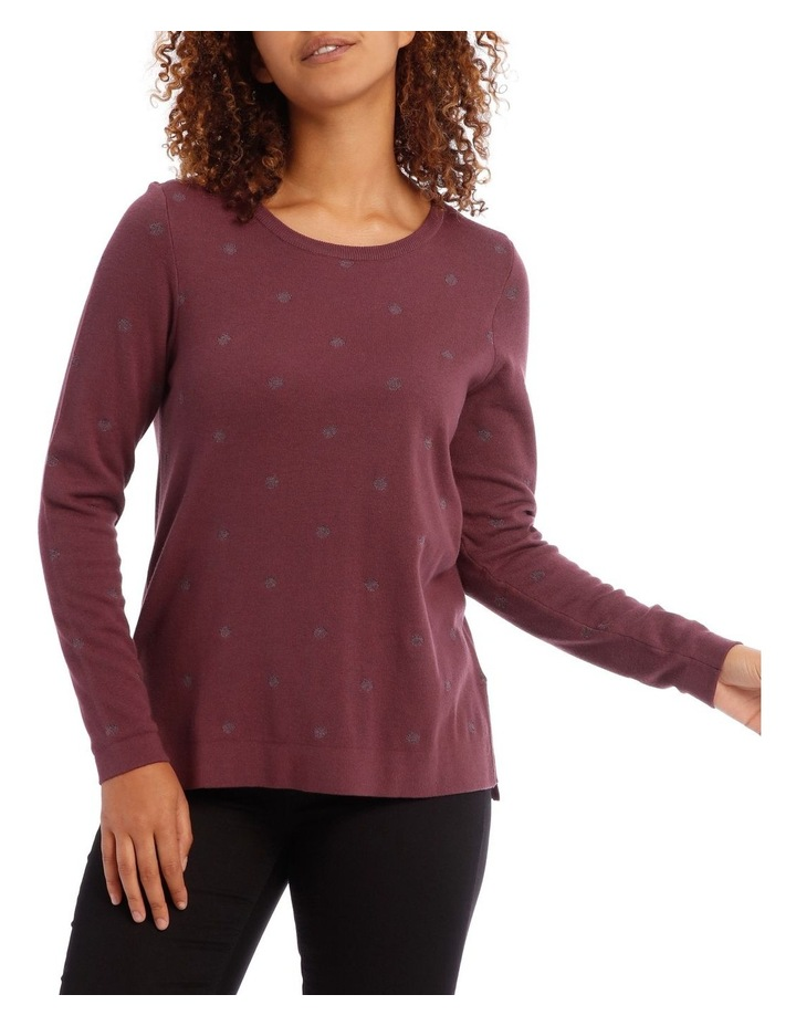 Jacquard Lurex Spot Long Sleeve Jumper With Hi/Lo Hem image 1