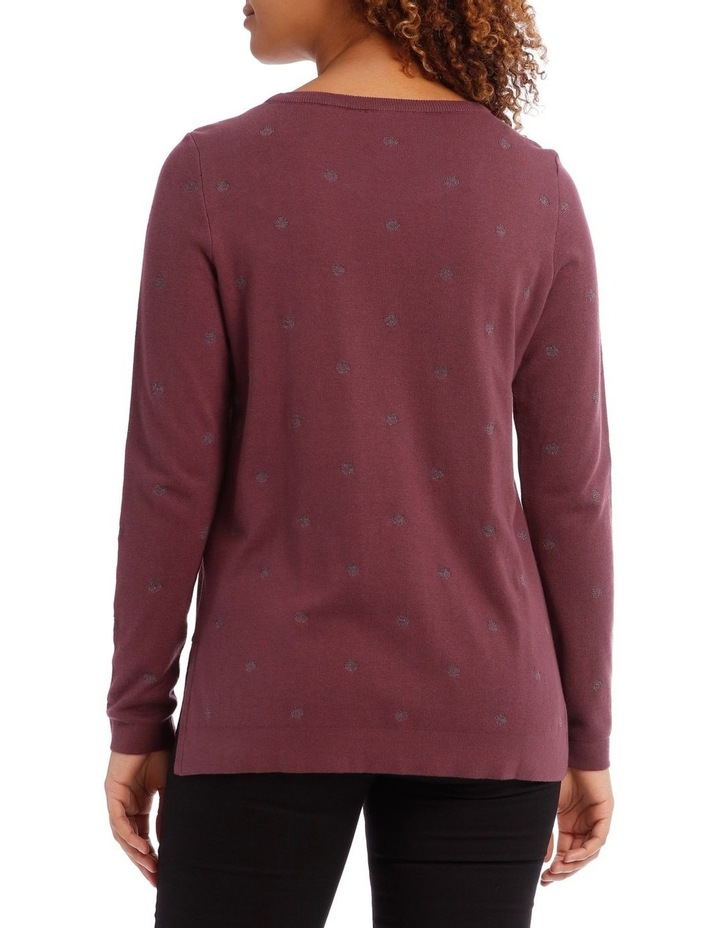 Jacquard Lurex Spot Long Sleeve Jumper With Hi/Lo Hem image 3
