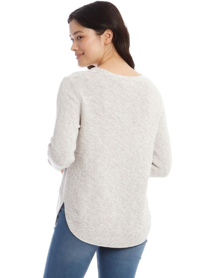 Fancy Knit Front Curved Hem Long Sleeve Jumper image 3