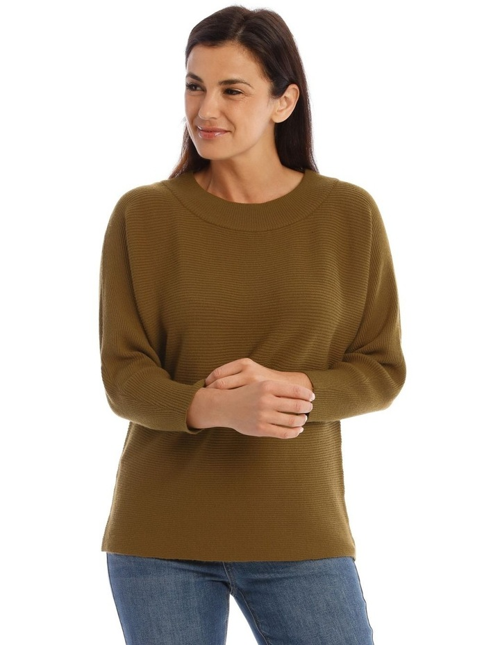 Wide Rib Boat Neck 3/4 Sleeve Jumper image 1