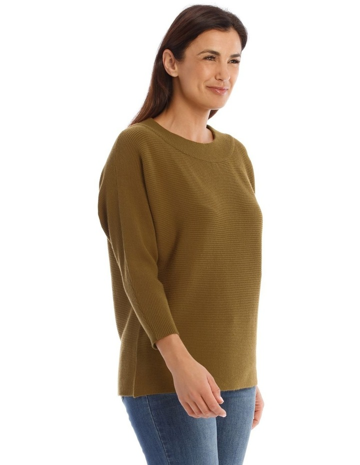 Wide Rib Boat Neck 3/4 Sleeve Jumper image 2