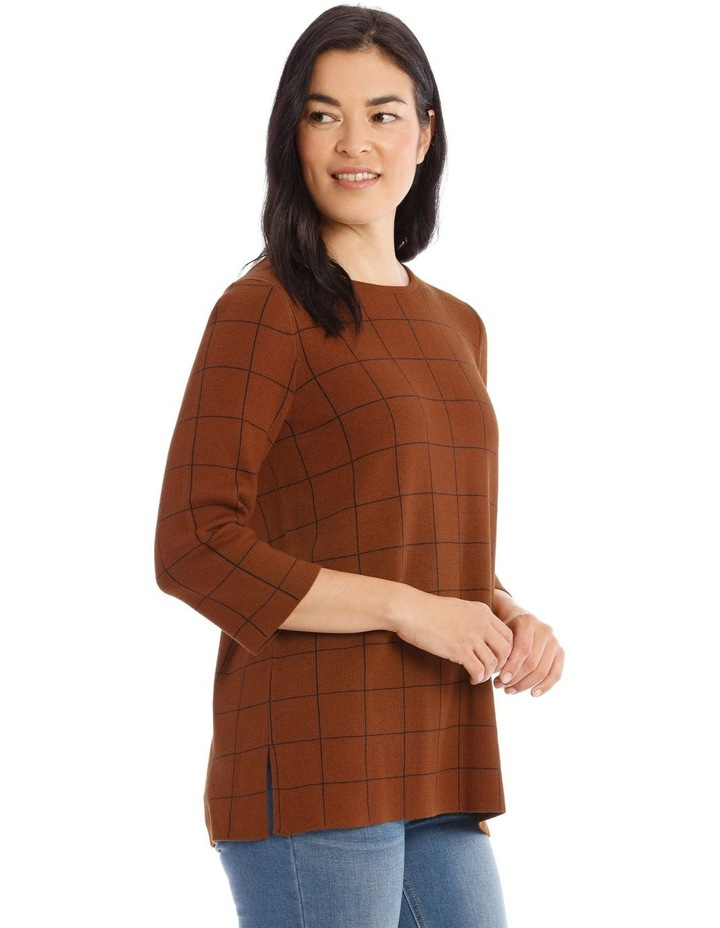 Check 3/4 Sleeve Tunic Jumper With Side Splits image 2