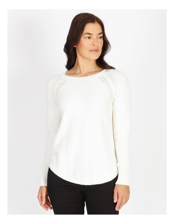 Curved Hem Jumper With Pointelle At Armhole-Ivory image 1