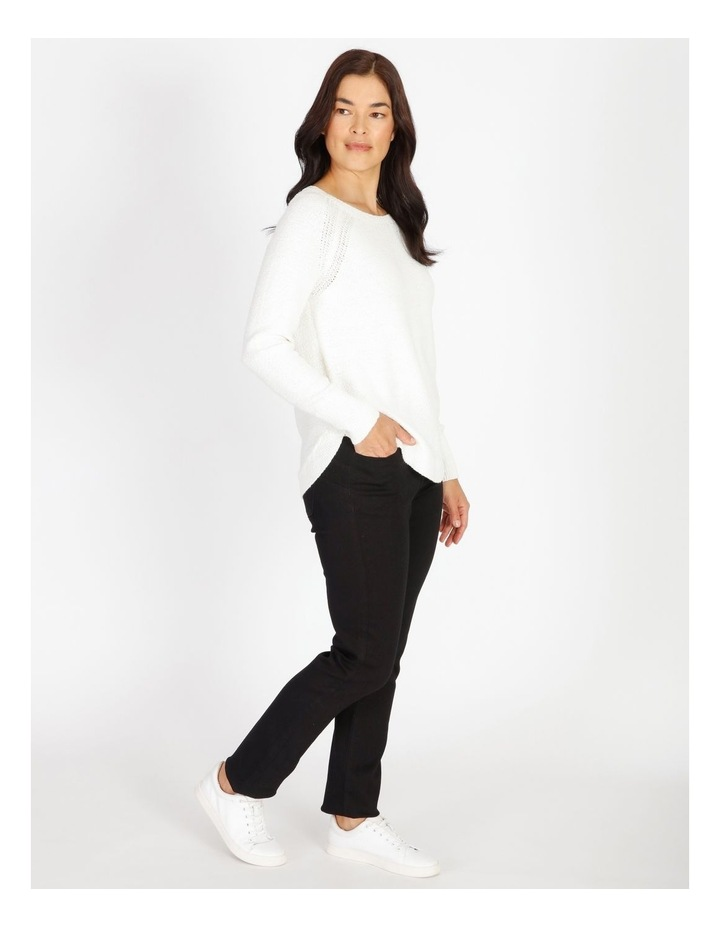 Curved Hem Jumper With Pointelle At Armhole-Ivory image 2