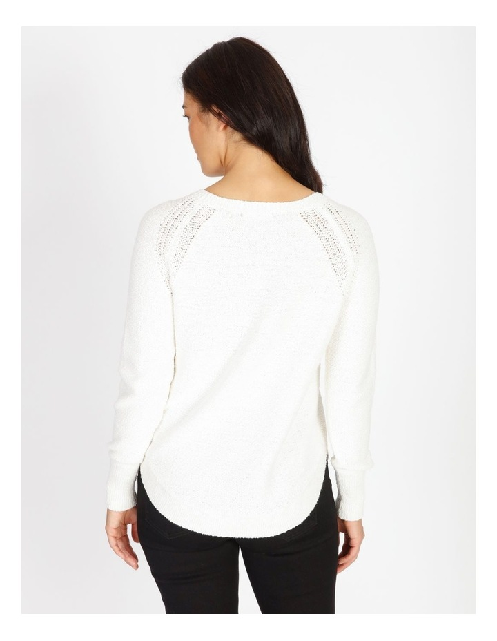 Curved Hem Jumper With Pointelle At Armhole-Ivory image 3