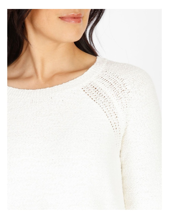 Curved Hem Jumper With Pointelle At Armhole-Ivory image 4