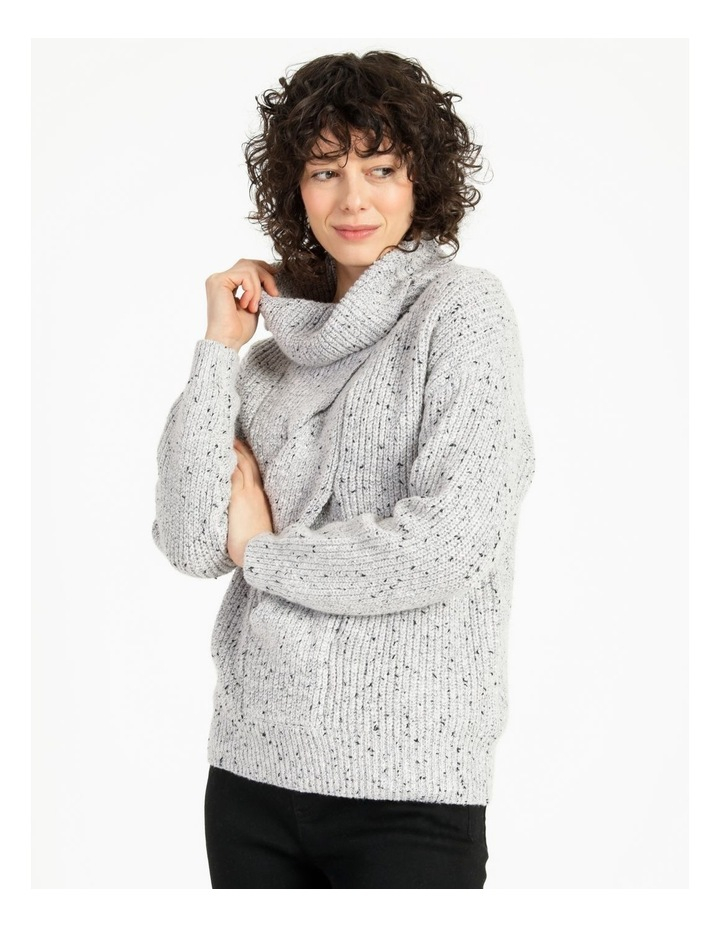 Kindled Wide Cable Front Long Sleeve Jumper With Cowl Neck image 1