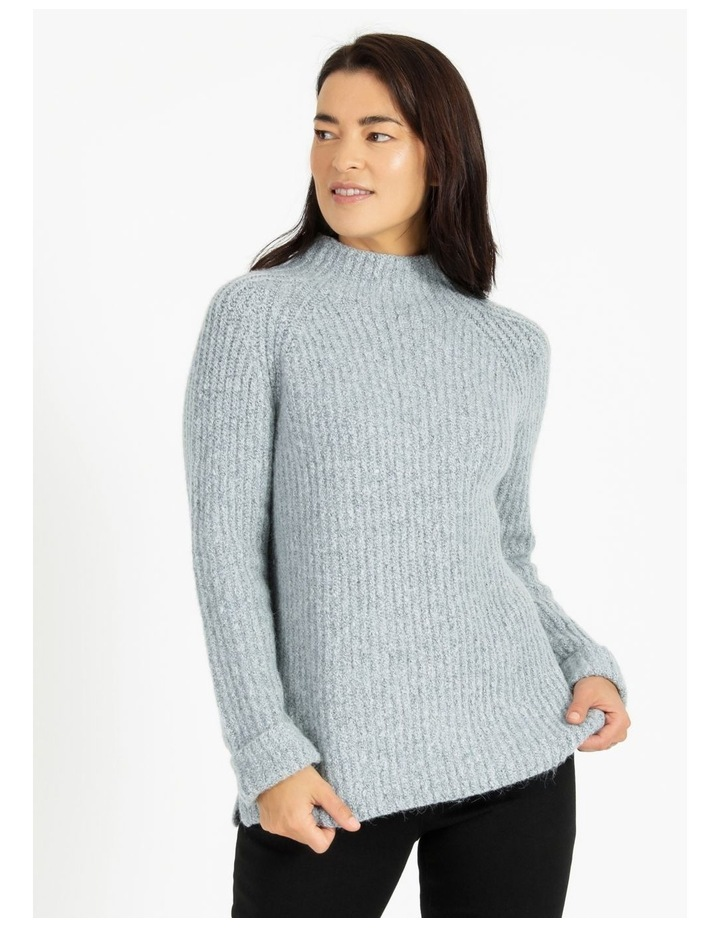 Mottled Marble Raglan Sleeve Stand Neck Jumper With Cuffs image 1