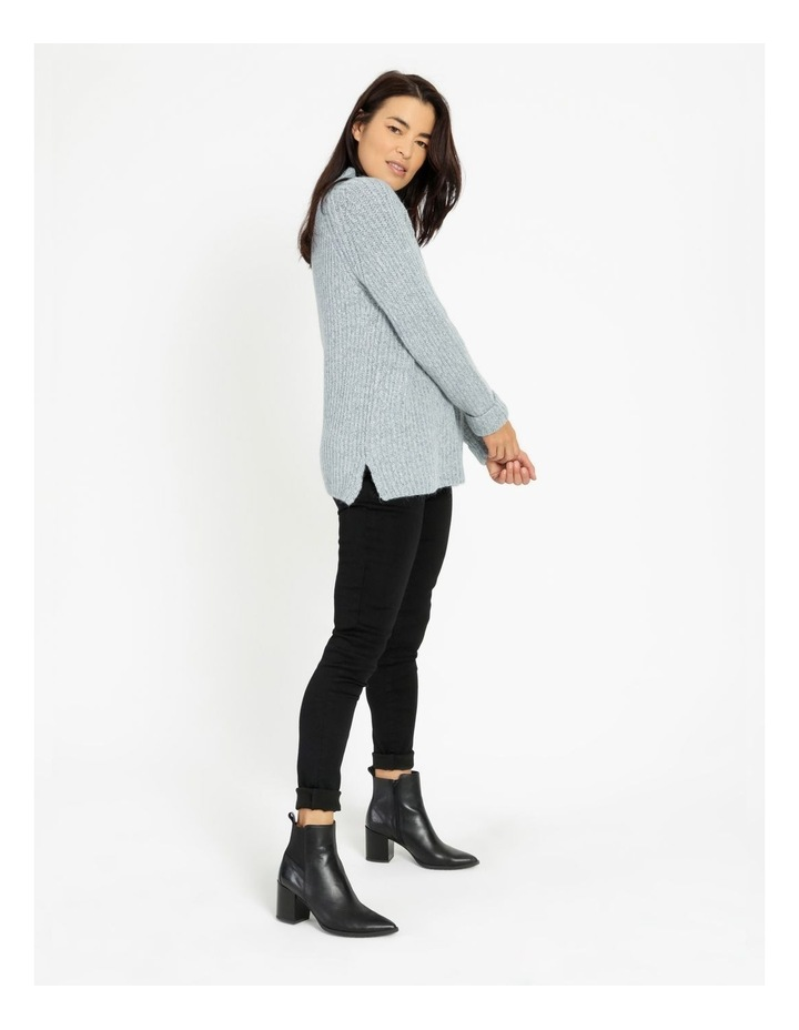 Mottled Marble Raglan Sleeve Stand Neck Jumper With Cuffs image 2