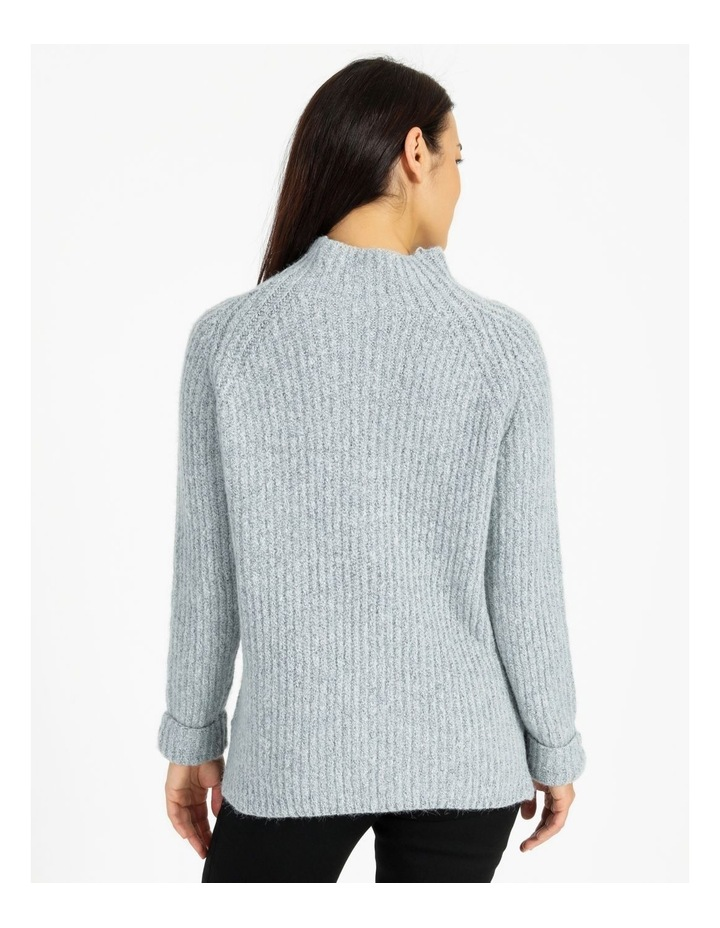 Mottled Marble Raglan Sleeve Stand Neck Jumper With Cuffs image 3