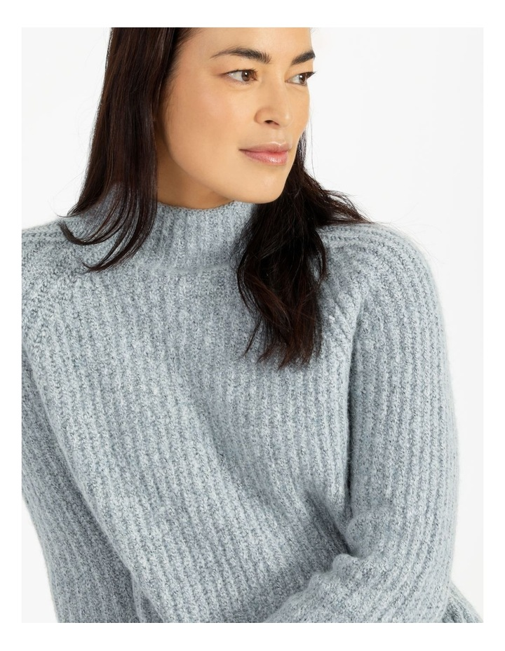 Mottled Marble Raglan Sleeve Stand Neck Jumper With Cuffs image 5