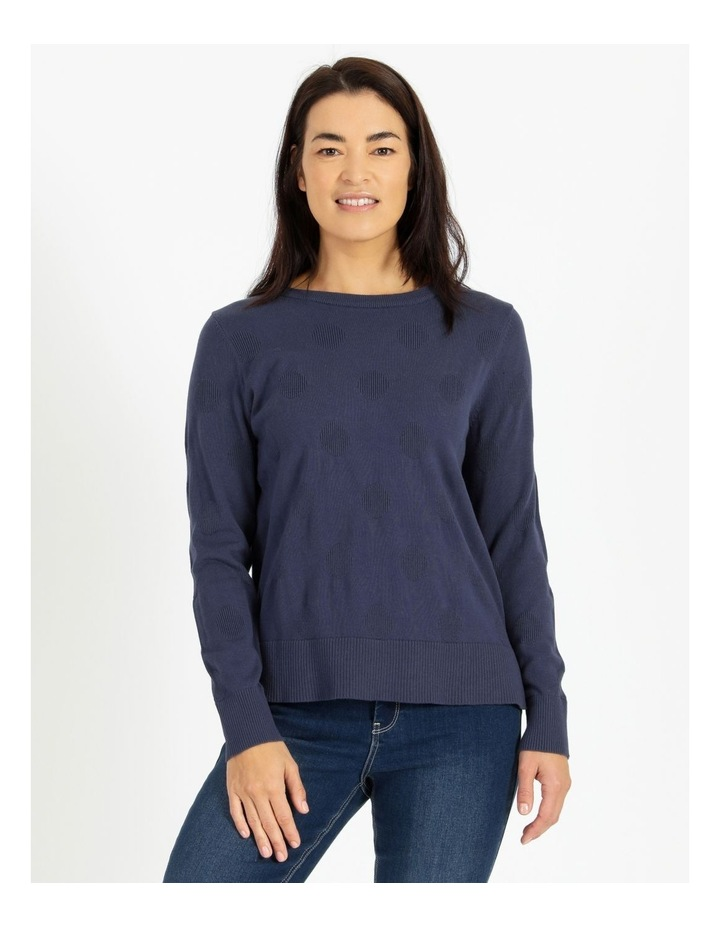 Crew Neck Textured Spot Long Sleeve Jumper image 1