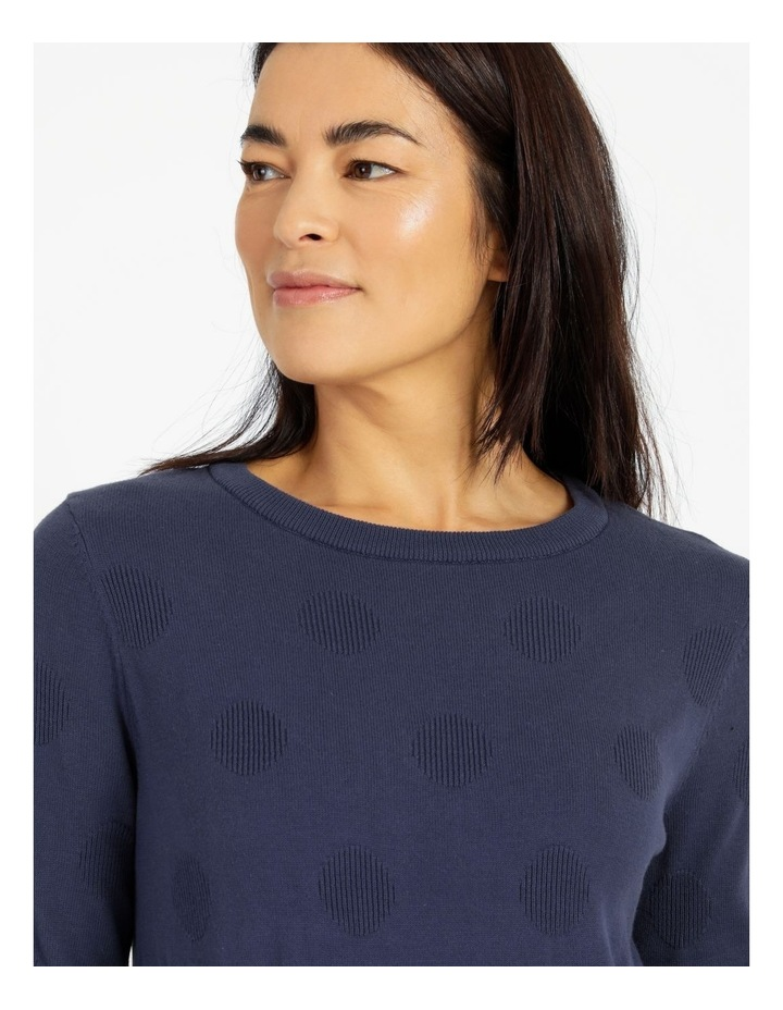 Crew Neck Textured Spot Long Sleeve Jumper image 4