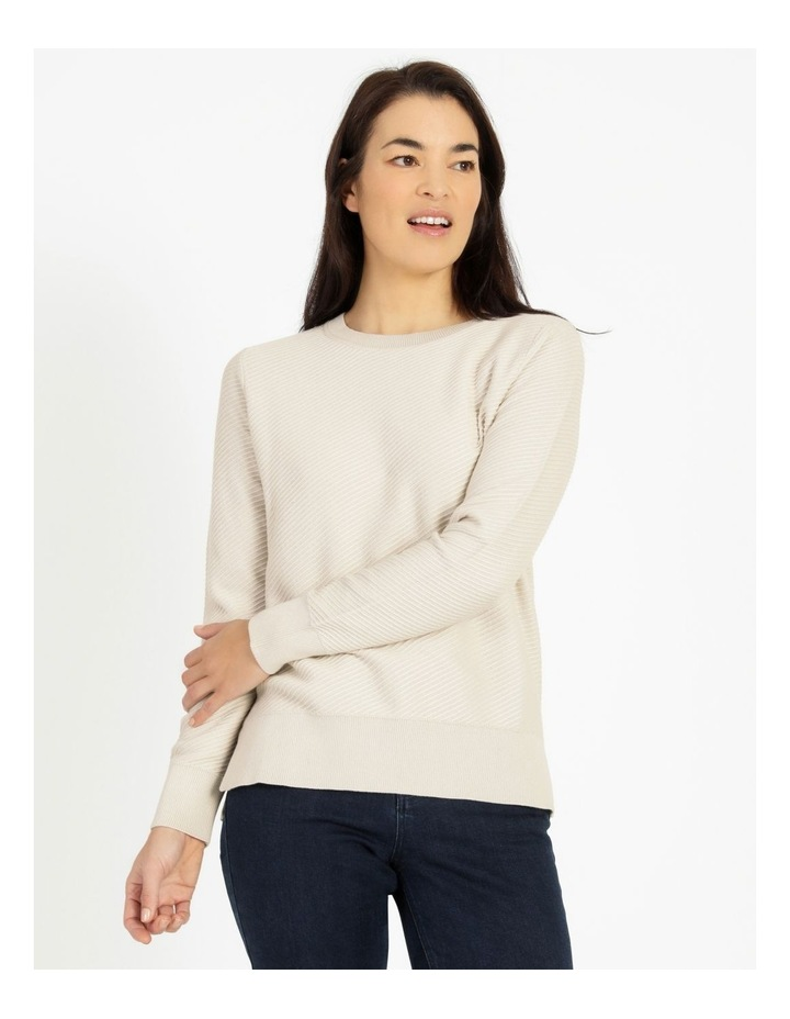 Diagonal With Side Spits Knit Jumper Neutral image 1