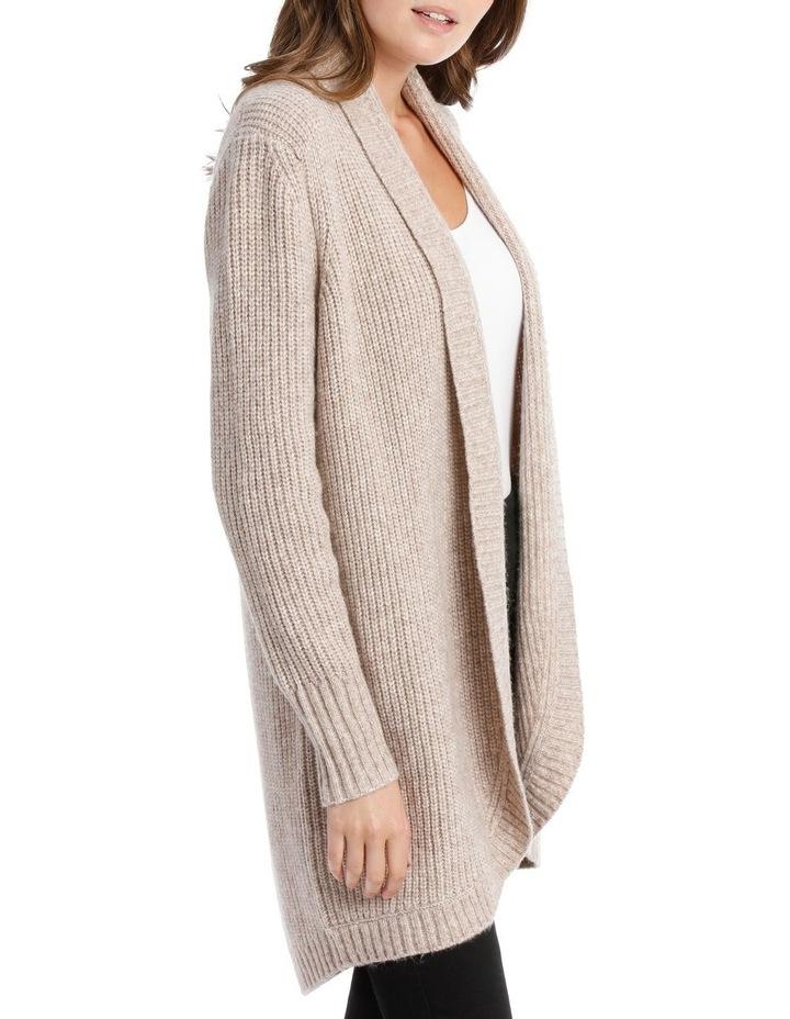 Shawl Collar Long Sleeve Long Cardigan - Blush Marle image 2