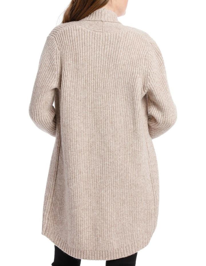 Shawl Collar Long Sleeve Long Cardigan - Blush Marle image 3