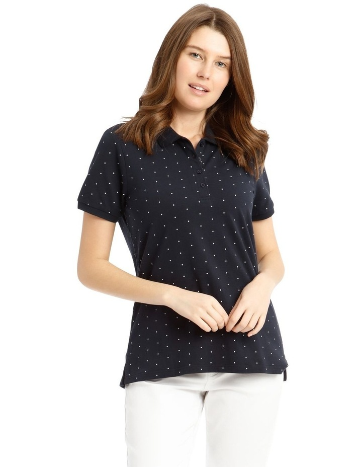 Short Sleeve Polo - Navy With White Spot image 1