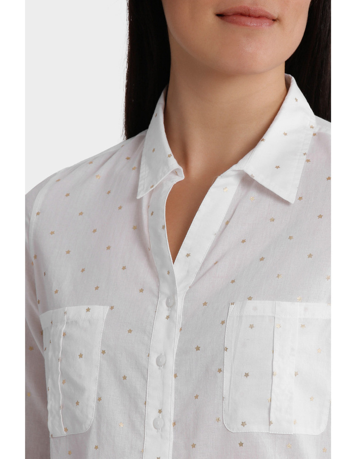 Must Have Foil Cotton 3/4 Sleeve Shirt image 4