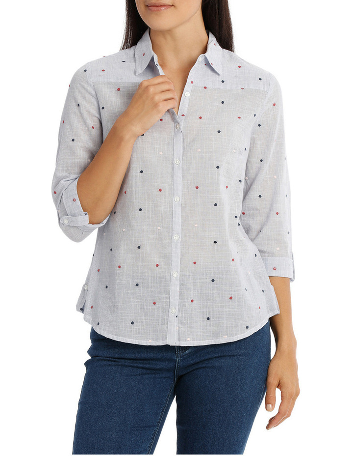 Embroidered Spot 3/4 Sleeve Shirt image 1