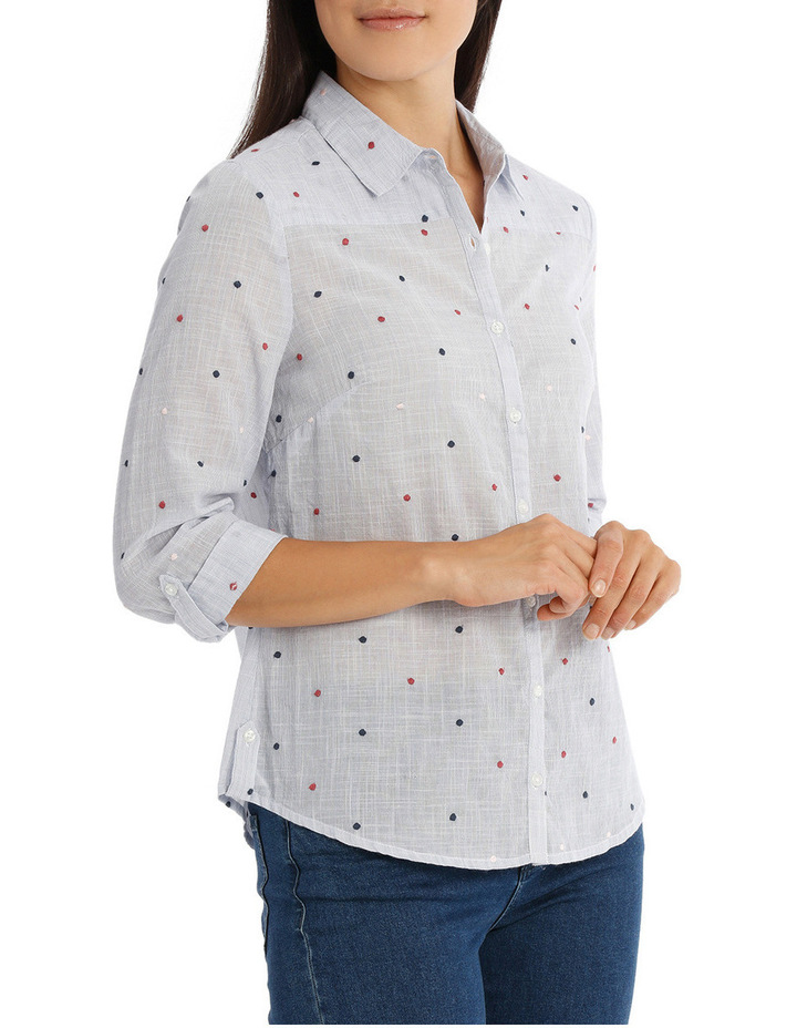 Embroidered Spot 3/4 Sleeve Shirt image 2