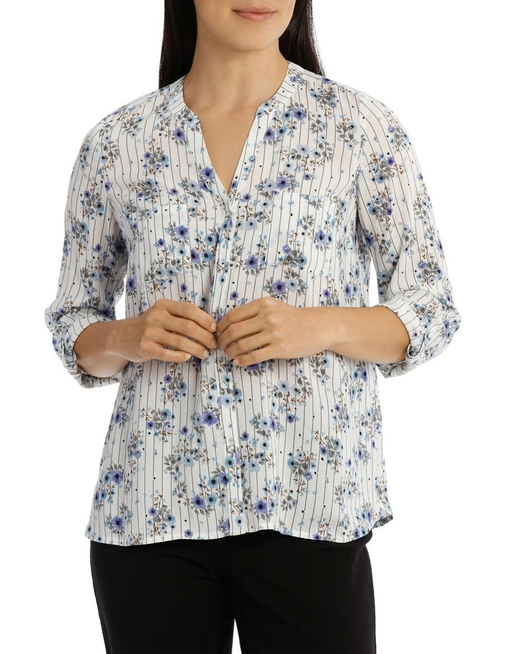 Floral Stripe 3/4 Sleeve Shirt image 1