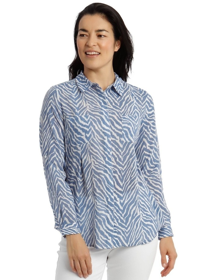 Front Tuck Long Sleeve Shirt With Rolled Sleeve With Tab-Blues Print image 1